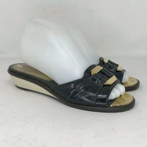 Marc Jacobs Womens Black Slide Wedge Sandal Sz 6.5